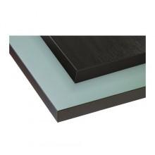ЕКБАККЕН Столешница двусторонняя, коричнево-черн, св-голуб с коричн-черн окантовкой 402.744.13